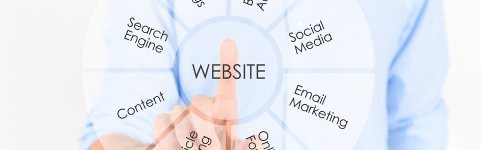 Man touching virtual screen with website marketing development information process. Isolated on white.
